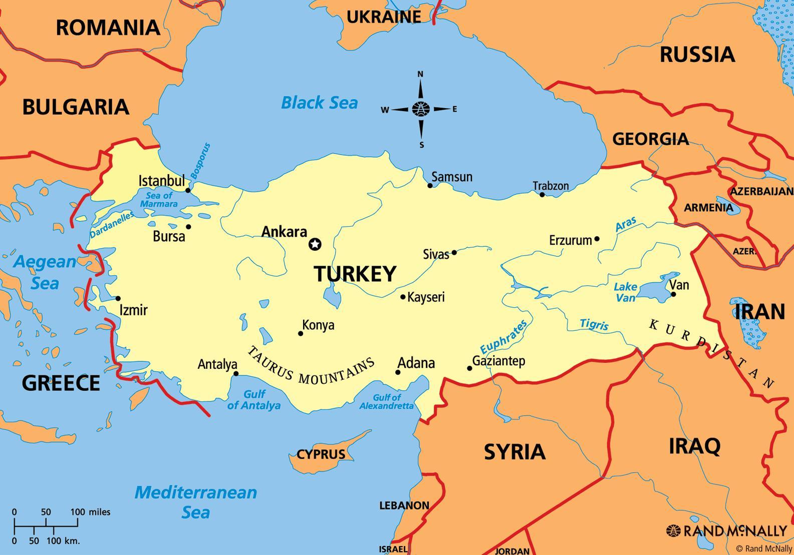 Turkije Continent Kaart Kaart Van Turkije Europa West Azie Azie