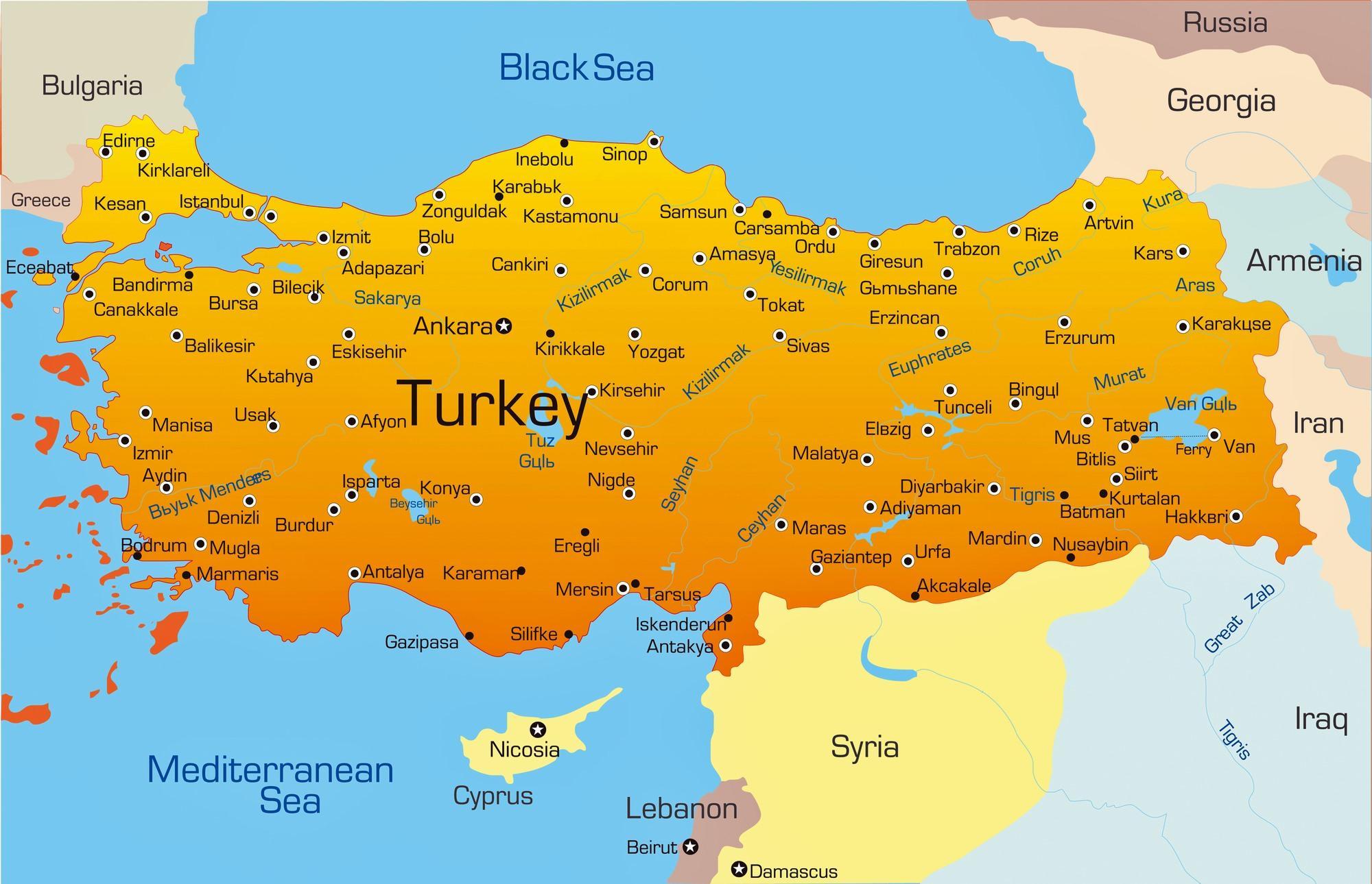 Turkije Kaart Steden Grote Steden In Turkije Kaart West Azie Azie